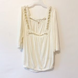 Free People Rings Embroidered Square Neck M